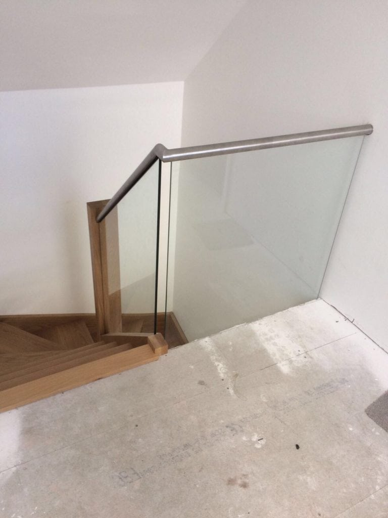modern wood glass and metal staircase